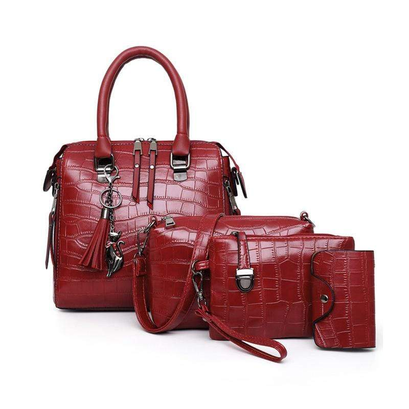 Obangbag Red Women Elegant Multifunction Large Capacity Crocodile Pattern Leather Handbag Crossbody Bag Purse Card Holder