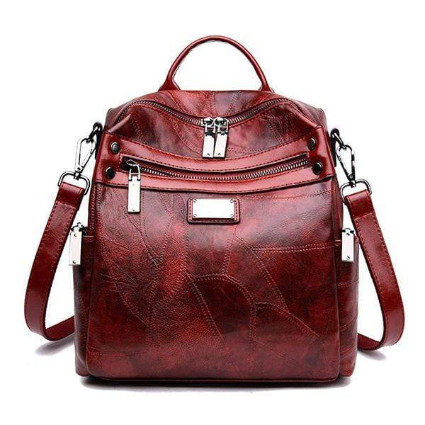 Obangbag red Women Fashion Multi-Carry Soft Leather Work Backpack
