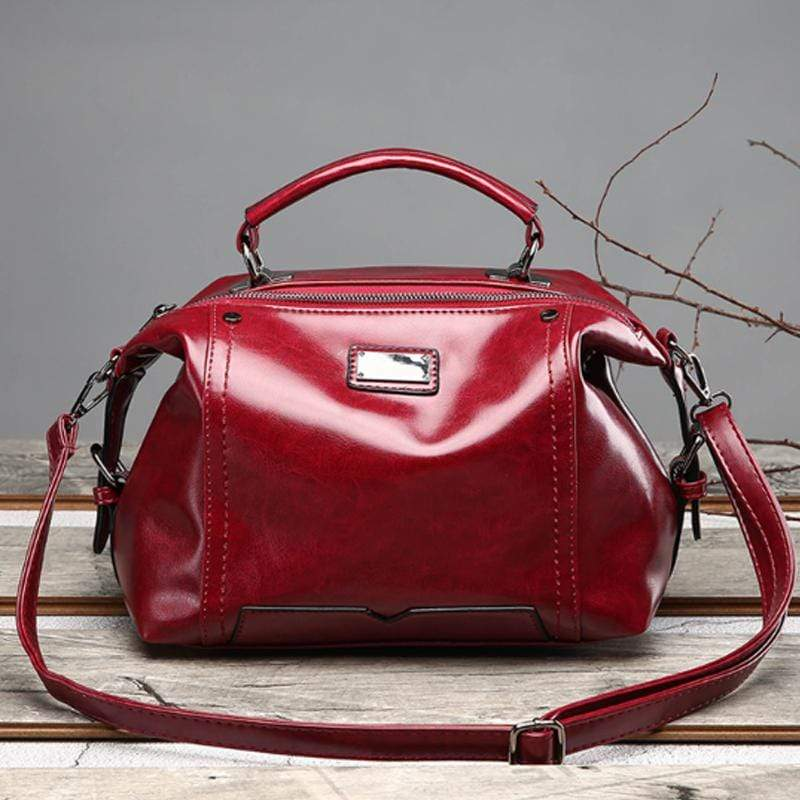 Obangbag Red Women Fashion Vintage Large Capacity Roomy Oil Wax Leather Handbag Crossbody Bag for Work