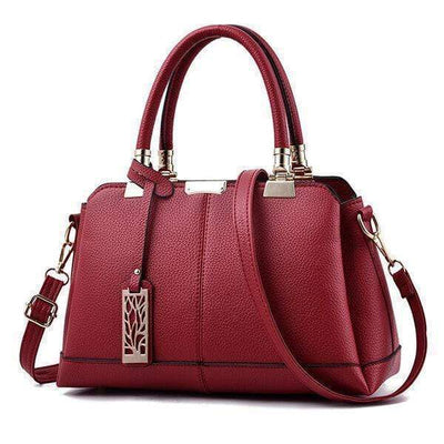 Obangbag Red Women Fashion Work Large Capacity Leather Tote Bag Shoulder Bag