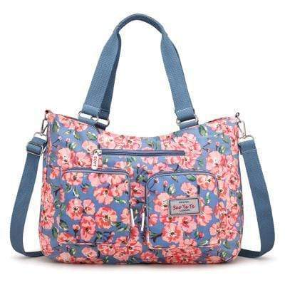 Obangbag Red Women Floral Print Multi Pockets Big Capacity Teacher Cloth Tote Bag