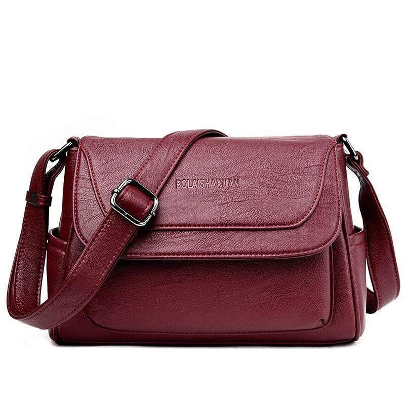 Obangbag Red Women Genuine Leather Soft Shell Female Bag Small Bag Envelope Bag Shoulder Bag