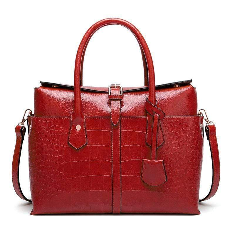Obangbag Red Women Large Capacity Elegant Crocodile Skin Pattern PU Leather Handbag
