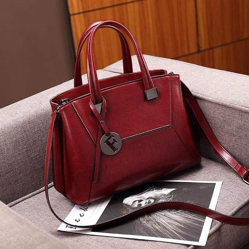 Obangbag Red Women Mini Retro Daily Multifunction Genuine Leather Shoulder Bag Crossbody Bag