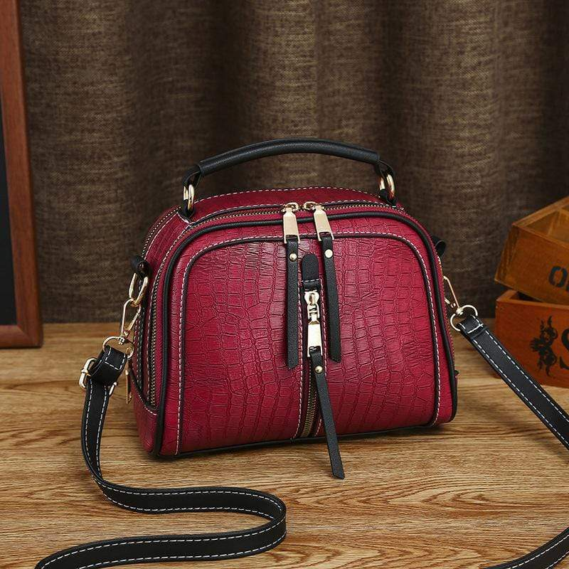 Obangbag Red Women Mini Vintage Daily Lightweight Roomy Leather Crossbody Bag Handbag Shoulder Bag