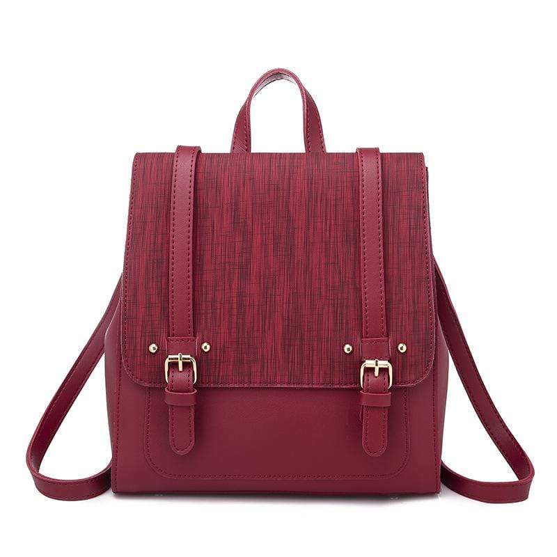 Obangbag Red Women Retro Chic Large Capacity Multifunction Square Leather Backpack  Crossbody Bag for School
