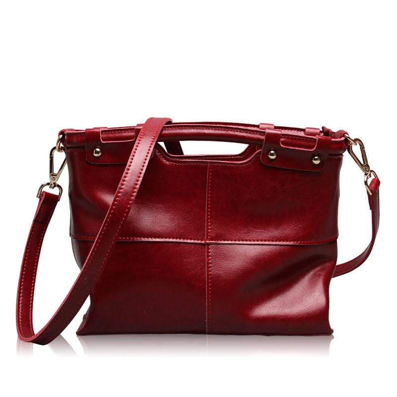 Obangbag Red Women Retro Large Capacity Daily Professional Genuine Leather Handbag Crossbody Bag for Work
