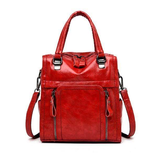 Obangbag Red Women retro large capacity multi-pocket multi-function backpack messenger shoulder bag