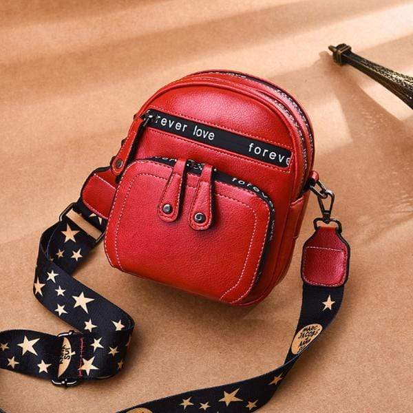 Obangbag Red Women Retro Mini Cute Stylish PU Leather Crossbody Bag Shoulder Bag