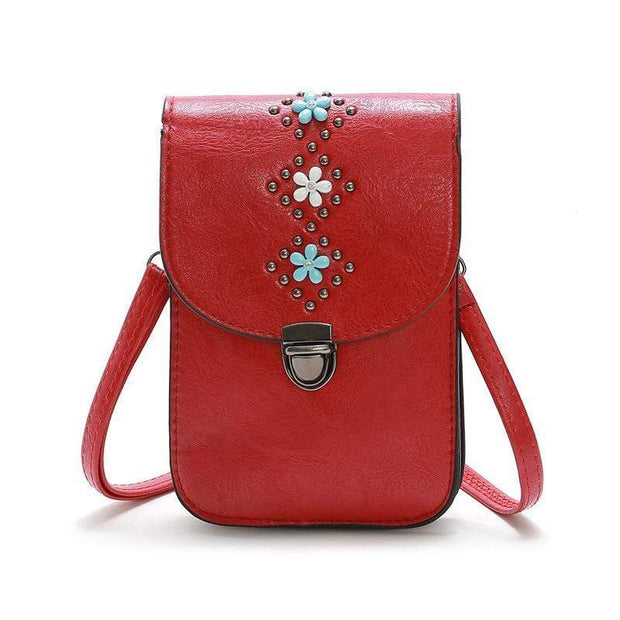 Obangbag Red Women Retro Vintage Flower Rivet Leather Phone Bag Purse