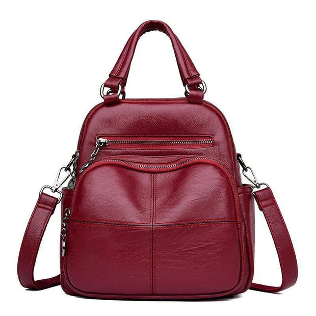 obangbag Red Women's Multi Function Leather Backpack Shoulder Bag Fashion Handbag