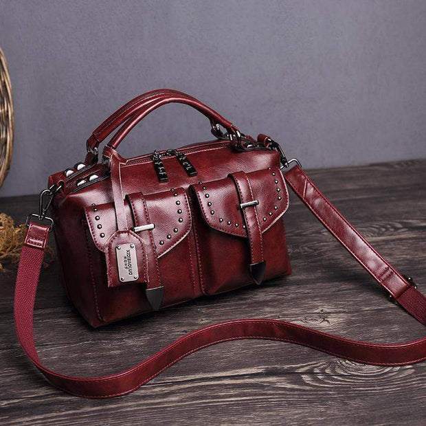Obangbag Red Women's Retro Vintage Leather Multi-Pocket Large Capacity Handbag Messenger Bag
