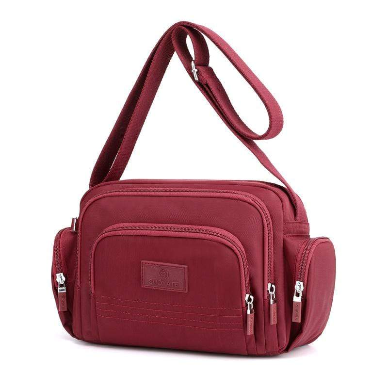 Obangbag Red Women Simple Multi Pockets Multifunction Lightweight Waterproof Nylon Shoulder Bag Crossbody Bag
