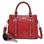 Obangbag Red Women Simple Vintage Big Large Capacity PU Leather Handbag Crossbody Bag