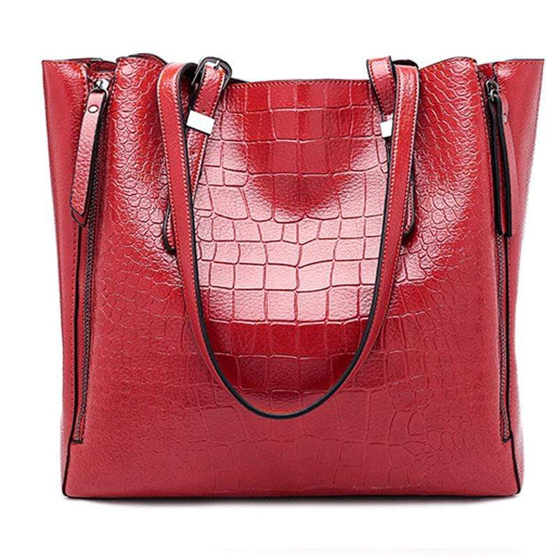 Obangbag Red Women Stylish Fashion Large Capacity Crocodile Pattern Oil Wax Leather Tote Bag Handbag