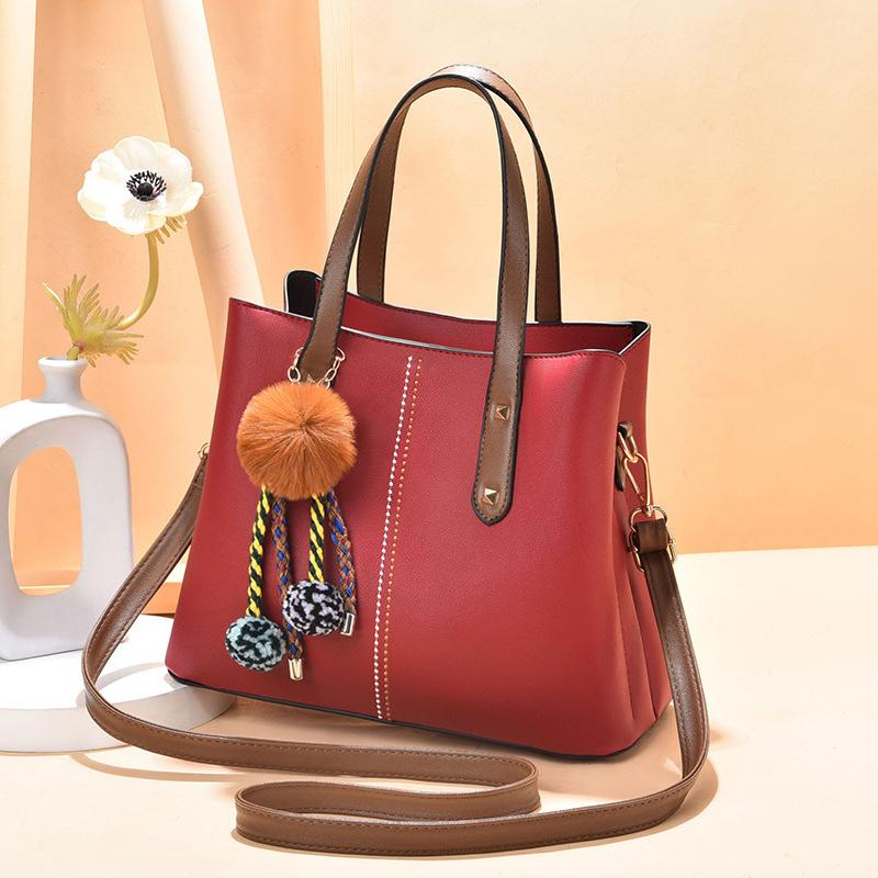 Obangbag Red Women Vintage Chic Large Capacity Professional Leather Handbag Shoulder Bag Crossbody Bag