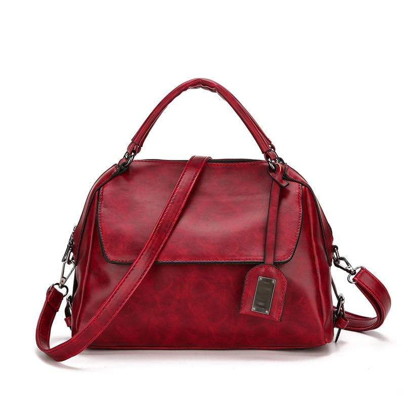 Obangbag Red Women Vintage Chic Multi Pockets Multifunction Roomy Oil Wax Leather Boston Bag Handbag Crossbody Bag