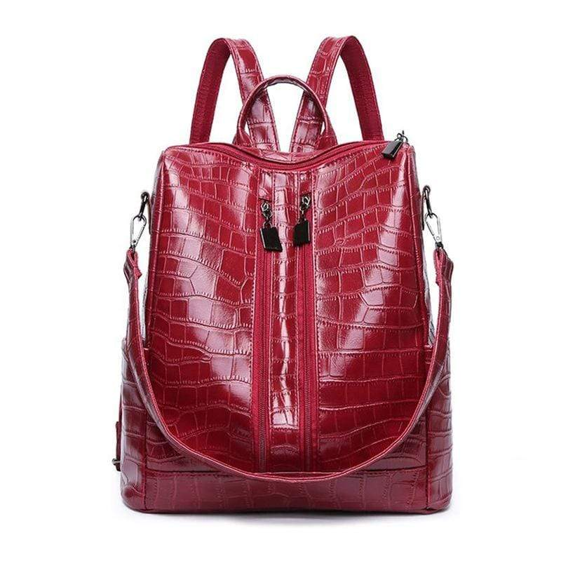 Obangbag Red Women Vintage Chic Multifunction Multi Pockets Roomy Leather Crocodile Pattern Backpack Shoulder Bag