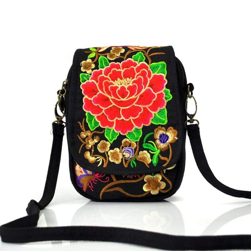 Obangbag Red Women Vintage Cute Mini Stylish Embroidery Canvas Phone Bag  Crossbody Bag Shoulder Bag