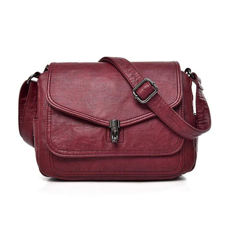 Obangbag Red Women Vintage Elegant Roomy Multi Pockets Professional Soft Leather Crossbody Bag