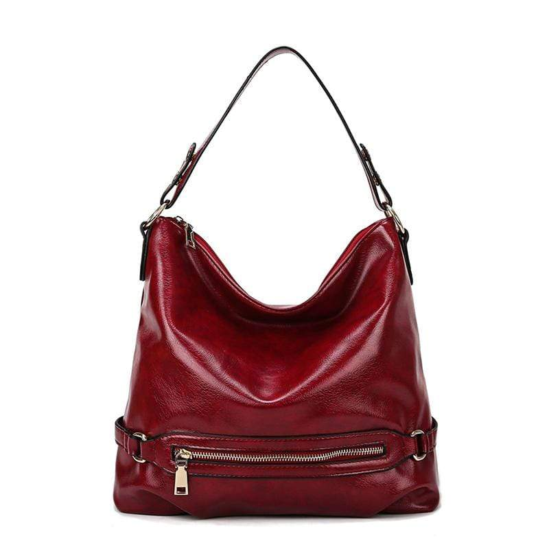Obangbag Red Women Vintage Fashion Large Capacity Roomy Anti-theft Leather Tote Bag Crossbody Bag for Work