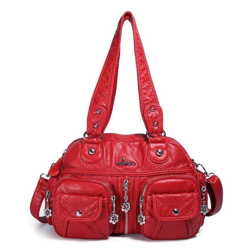 Obangbag Red Women Vintage Fashion Professional Multi Pockets Roomy Soft Leather Shoulder Bag Crossbody Bag
