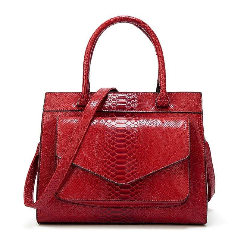 Obangbag Red Women Vintage Large Capacity Multi Pockets Snake Skin Pattern Leather Boston Bag Handbag Crossbody Bag