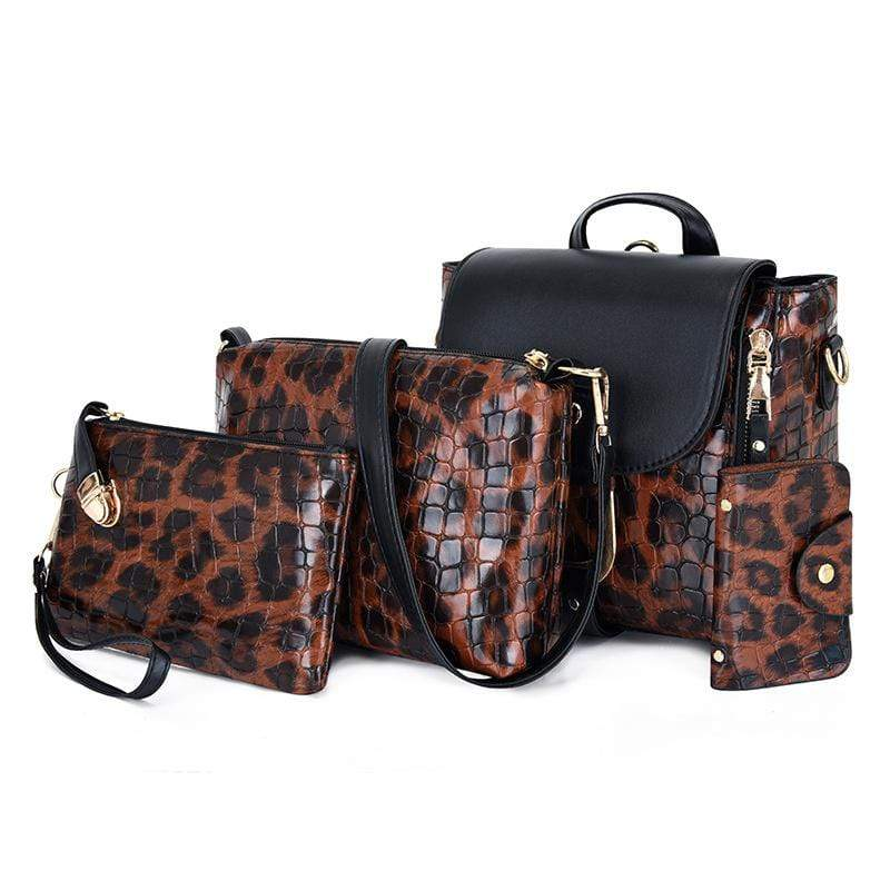 Obangbag Red Women Vintage Multifunction Roomy Leopard Pattern Leather Bag Set Backpack Crossbody Bag Purse