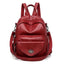 Obangbag Red Women Vintage Multifunction Roomy PU Leather Backpack Shoulder Bag Bookbag