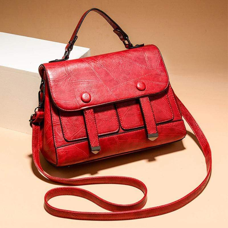 Obangbag Red Women Vintage Professional Multi Pockets Multifunction Leather Handbag Crossbody Bag for Work