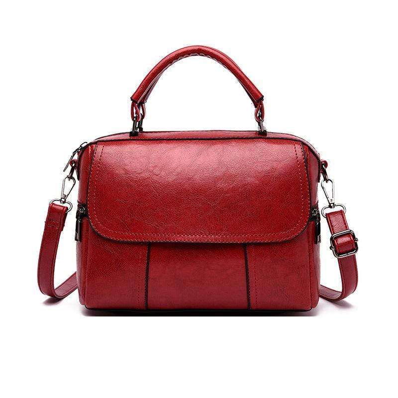 Obangbag Red Women Vintage Simple Multi Pockets Large Capacity Leather Handbag Crossbody Bag for Work