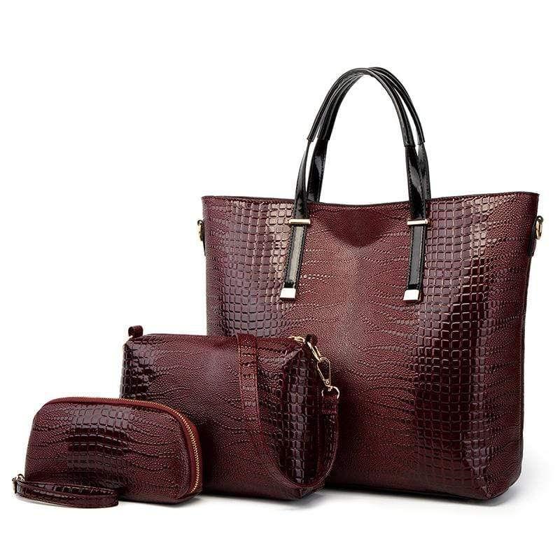Obangbag Red Women Vintage Stylish Large Capacity Multifunction Crocodile Pattern Leather Bag Set Crossbody Bag Purse