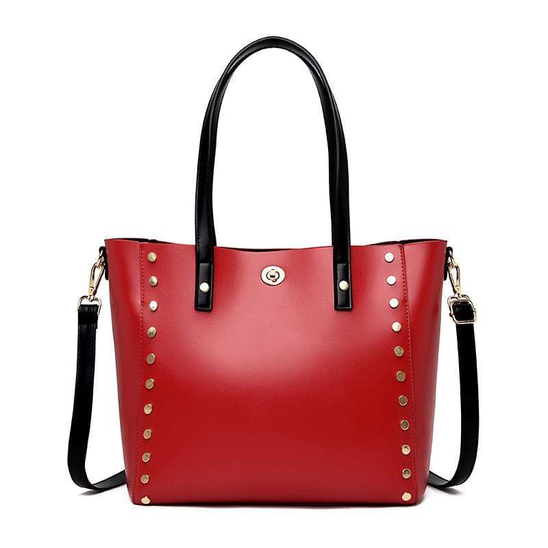 Obangbag Red Women Vintage Stylish Large Capacity Multifunction Oil Wax Leather Tote Bag Handbag Crossbody Bag for Work