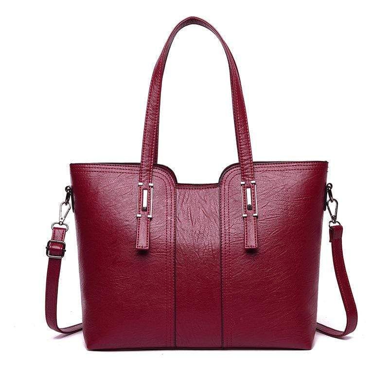 Obangbag Red Women Vintage Stylish Large Capacity Professional Soft Leather Handbag Shoulder Bag Crossbody Bag for Work