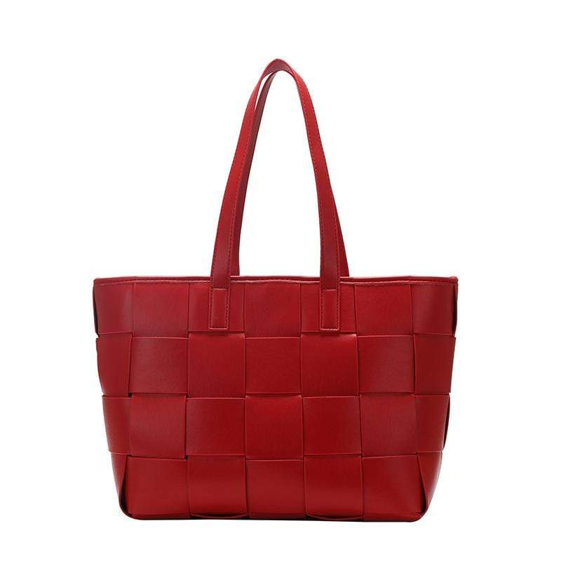 Obangbag Red Women Woven Simple Stylish Large Capacity Multifunction Work Leather Tote Bag Handbag