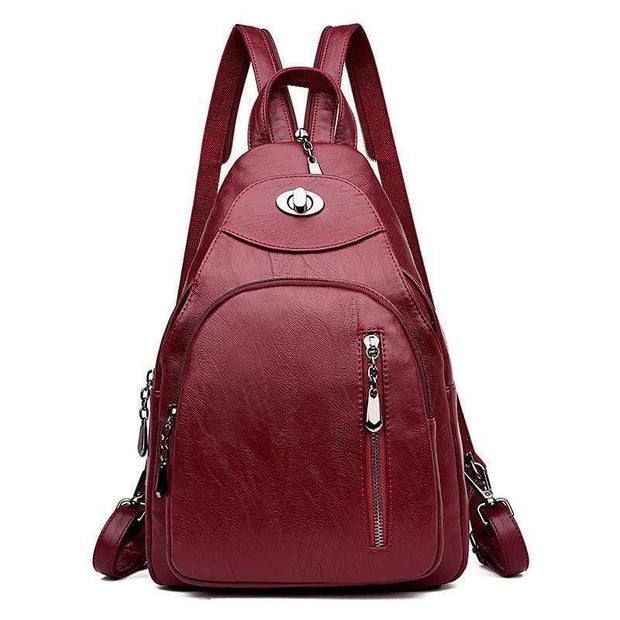 obangbag Red0 Women Wild Casual Backpack Multifunctional Leather Backpack