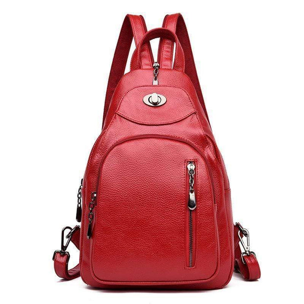 obangbag Red1 Women Wild Casual Backpack Multifunctional Leather Backpack