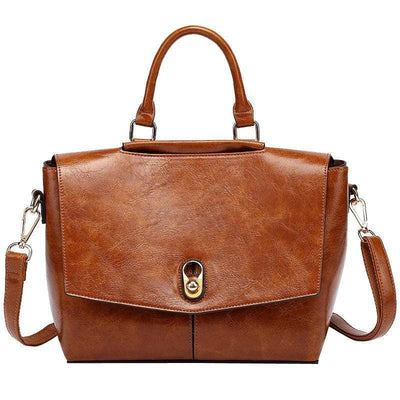 Obangbag Retro Large Capacity Ladies Vintage Leather Handbag Shoulder Bag