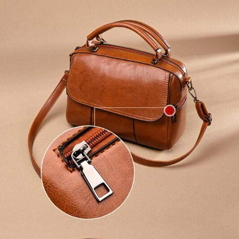 Obangbag Retro Leather Vintage Multi-pocket Handbag Minimalist Messenger bag