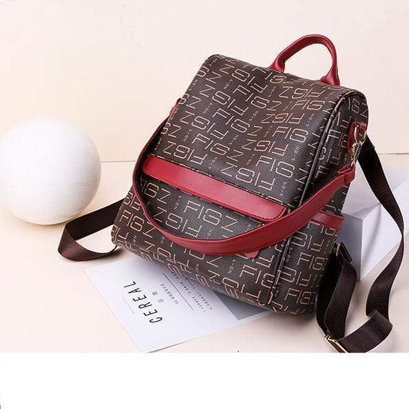 Obangbag Retro Letter Printing Leather Backpack