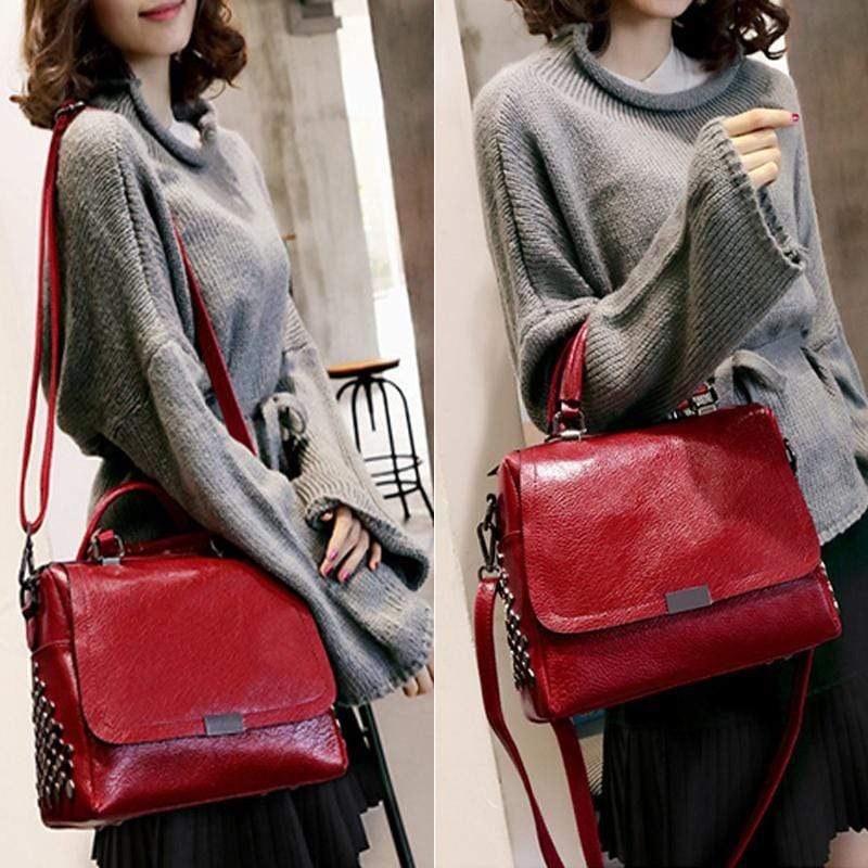 Obangbag Retro Vintage Anti theft Leather Messenger Handbag Shoulder Bag