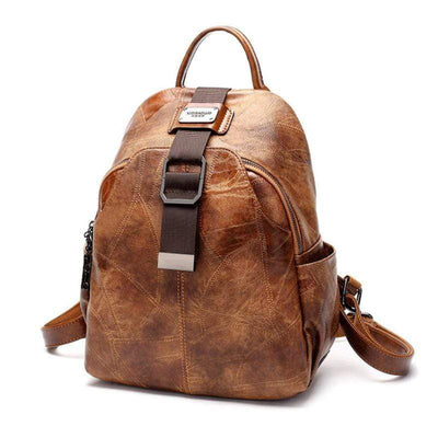 Obangbag Retro Vintage Large Capacity Multi Pockets Classical Leather Backpack
