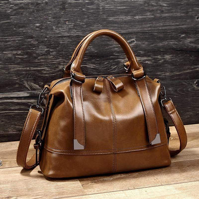 Obangbag Retro Vintage Oil Wax Leather Shoulder Bag for Women