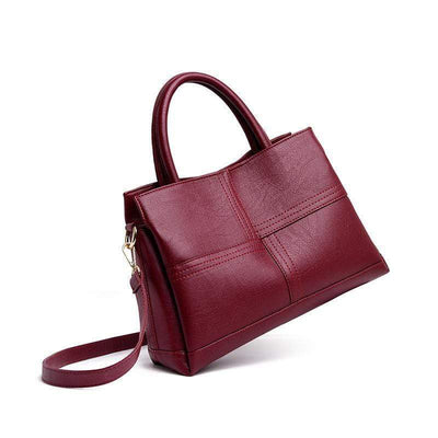 Obangbag Retro Vintage Women Leather Handbag Three Layers Pockets Shoulder Bag