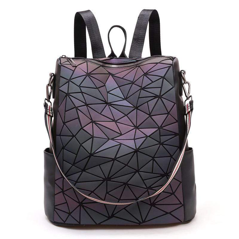 Obangbag Rhombus Women Chic Roomy Vintage Multifunction Multi Pockets PU Backpack Shoulder Bag