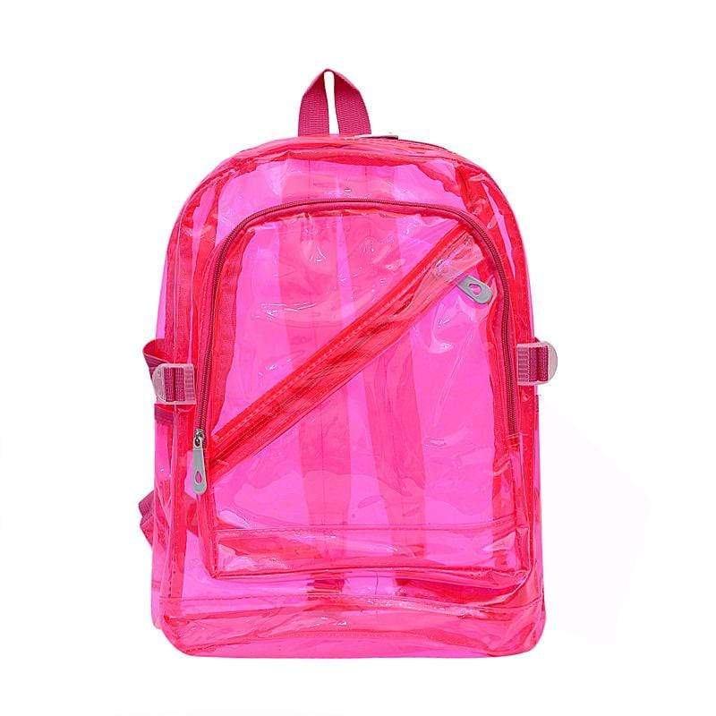 Obangbag Rose Red Unisex Chic Stylish Clear Transparent Large Capacity Lightweight PVC Backpack