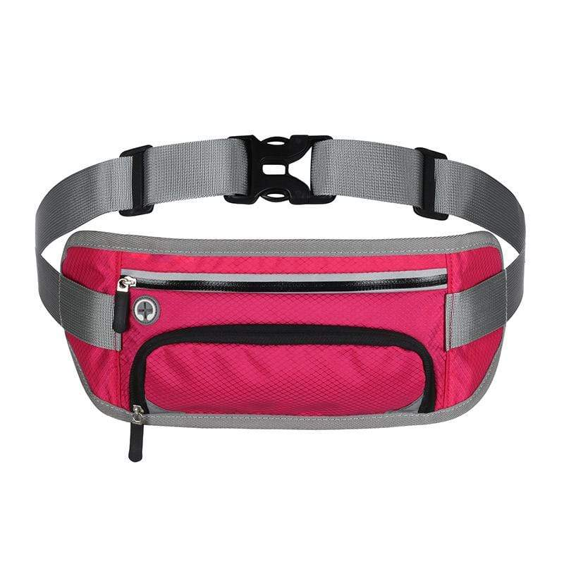 Obangbag Rose Red Unisex Large Capacity Earphone Access Outdoor Waterproof Fanny Pack Waist Bag for Sport