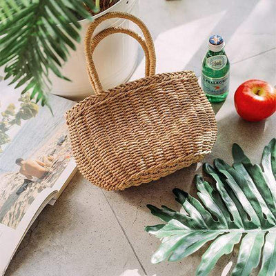 Obangbag Round / brown Summer Holiday Grass Woven Straw Rattan Bag Mini Cute Small Handbag Beachbag for Ladies