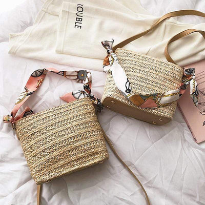 Obangbag Scarf Daily Rattan Bag Shoulder Bag