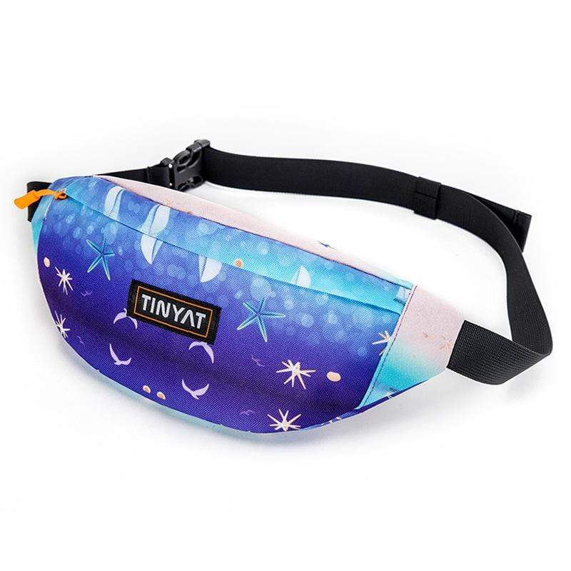 Obangbag Sea Printed Unisex Lightweight Multifunction Casual Sports Outdoor Waterproof Fanny Pack Phone Bag